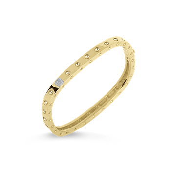 Gold Square Bangle with Diamonds