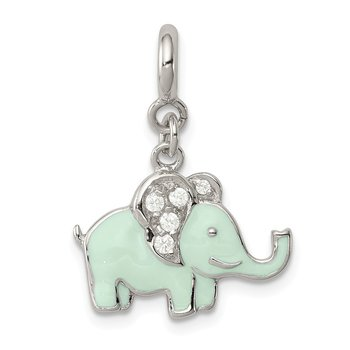Sterling Silver Enameled with CZ Elephant Charm