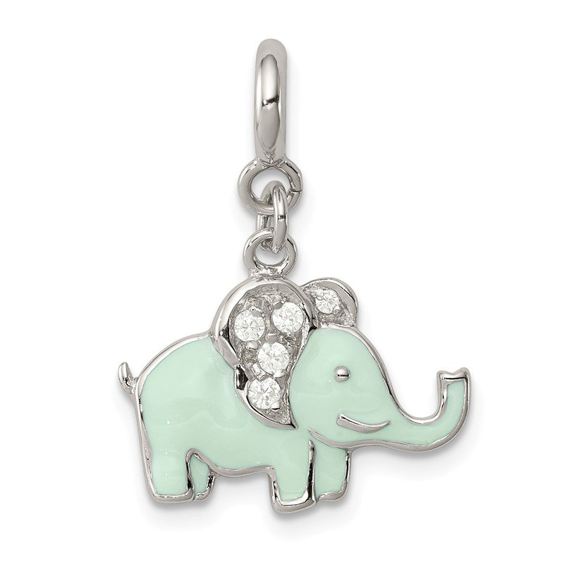 Quality Gold Sterling Silver Enameled with CZ Elephant Charm