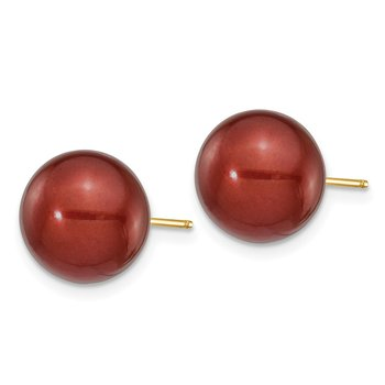 14k 10-11mm Coffee Round Freshwater Cultured Pearl Stud Post Earrings