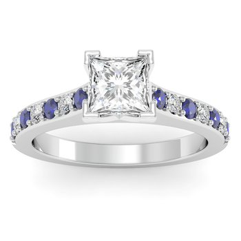 Pave Blue Sapphire & Diamond Cathedral Engagement Ring
