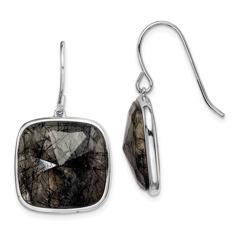 Quality Gold Sterling Silver Rhodium-plated Black Rutilated Quartz Dangle Earrings