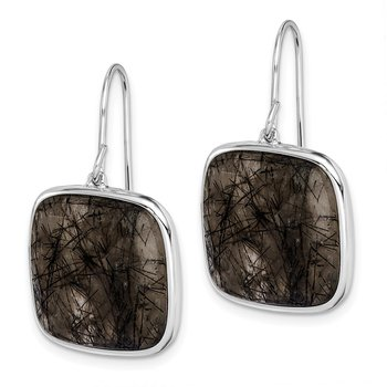 Sterling Silver Rhodium-plated Black Rutilated Quartz Dangle Earrings