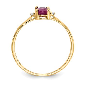 14k Diamond & Ruby Birthstone Ring