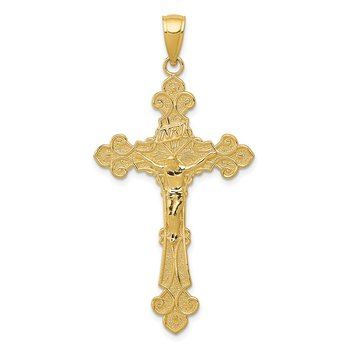 14K Polished Textured INRI Crucifix Fleur de Lis Pendant