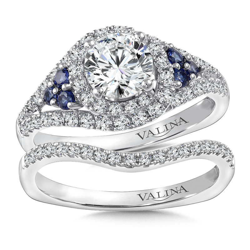 Valina Diamond & Blue Sapphire Engagement Ring Mounting in 14K White Gold (.43 ct. tw.)