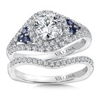 Valina Bridals Diamond & Blue Sapphire Engagement Ring Mounting in 14K White Gold (.43 ct. tw.)