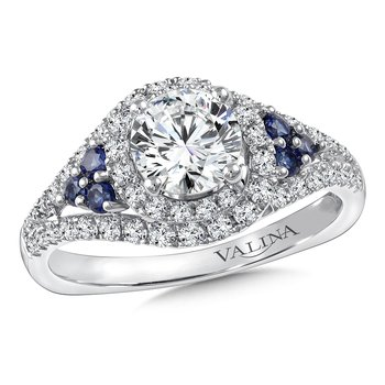 Diamond & Blue Sapphire Engagement Ring Mounting in 14K White Gold (.43 ct. tw.)