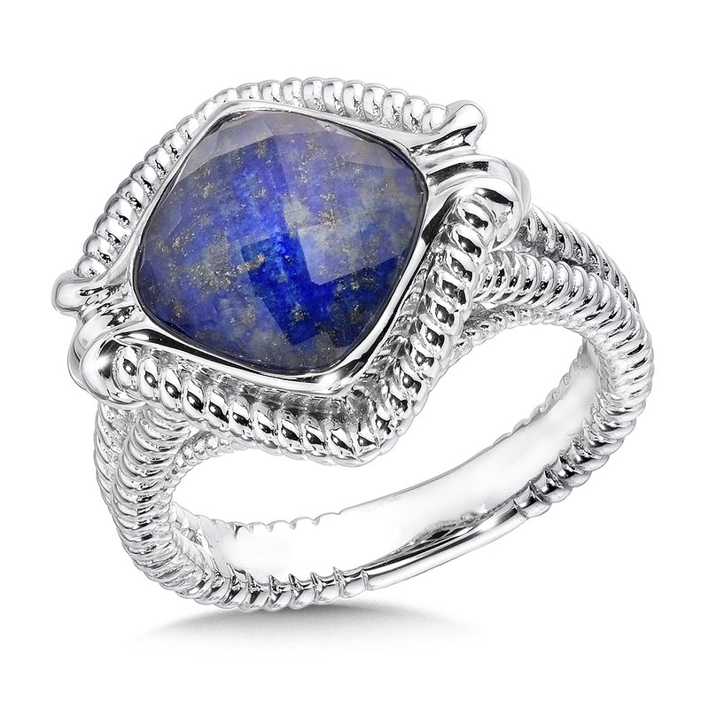 Sterling Silver White Quartz & Lapis Fusion Split Shank Ring