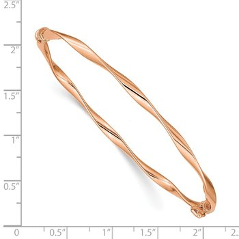 14k Rose Gold Polished Twisted Hinged Bangle Bracelet