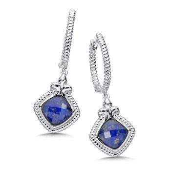 Sterling Silver White Quartz & Lapis Fusion Dangle Hoop Earrings