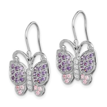 Sterling Silver Rhodium-plated w/CZ Butterfly Shepherd Hook Earrings
