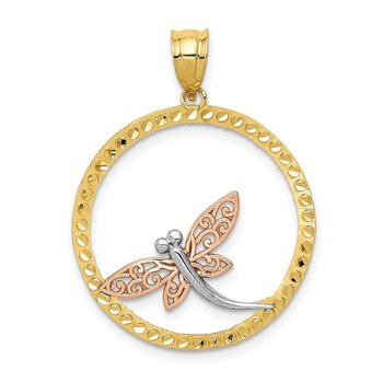 14K Two-tone w/White Rhodium Dragonfly Pendant