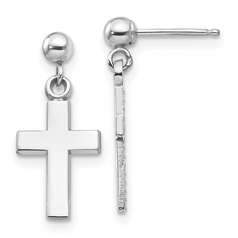 Quality Gold 14k White Gold Polished Cross Earrings