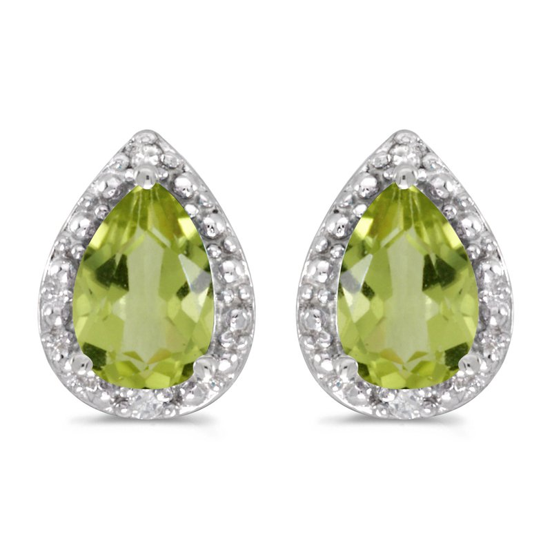 Color Merchants 14k White Gold Pear Peridot And Diamond Earrings