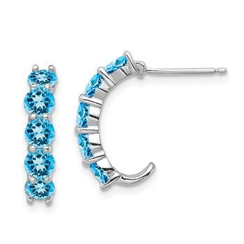 Sterling Silver Rhodium-plated Blue Topaz J-Hoop Earrings