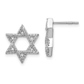 14k White Gold Diamond Star of David Earrings