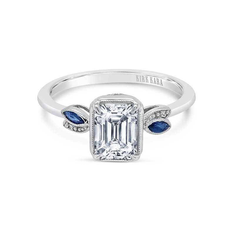 Sapphire Emerald Diamond Engagement Ring