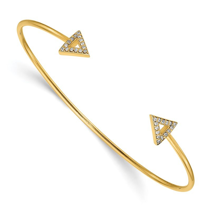 Quality Gold 14k 7in A Diamond Triangle Bangle