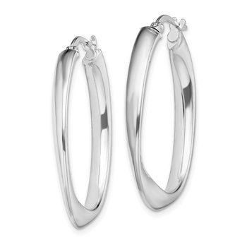 Sterling Silver Rhodium-plated Oval Hoop Earrings