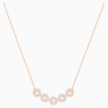 Angelic Square Necklace, White, Rose-gold tone plated
