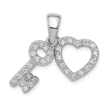 Sterling Silver Rhodium-plated CZ Heart & Key Fancy Pendant