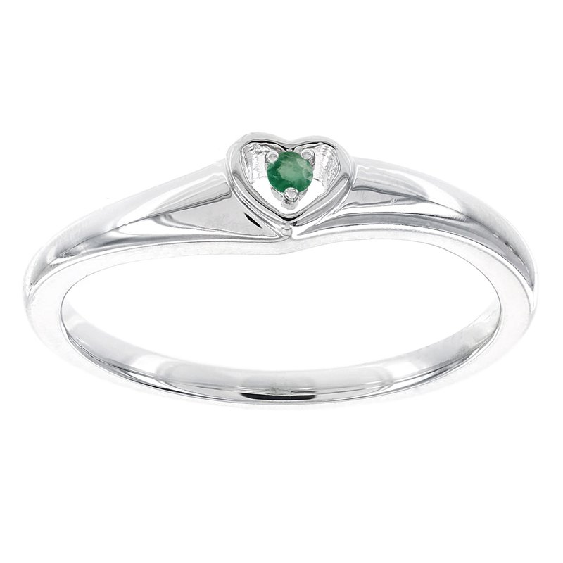 Moody's Signature Sterling Silver Round Emerald Heart Promise Ring