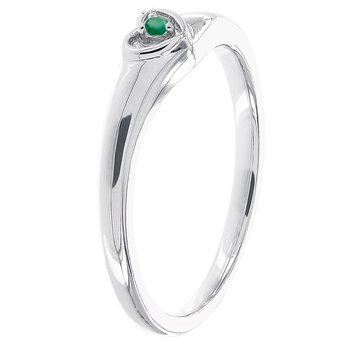 Sterling Silver Round Emerald Heart Promise Ring