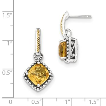 Sterling Silver w/14ky Citrine Post Dangle Earrings
