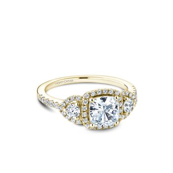 Three-Stone Halo Engagement Ring