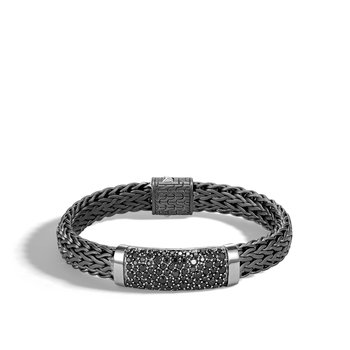 Classic Chain 11MM Station Bracelet, Blacken Silver, Gemstone