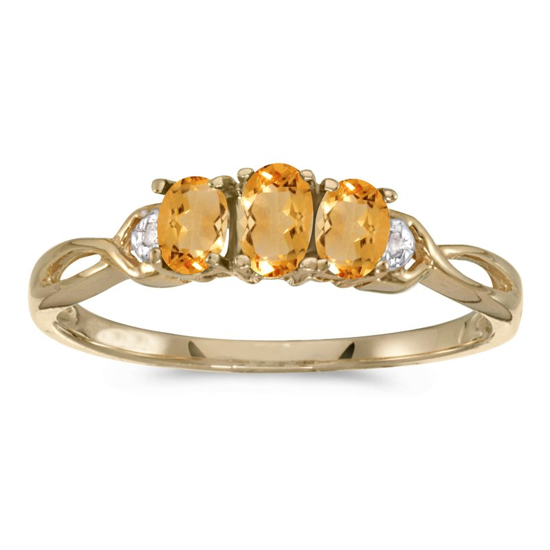 Color Merchants 14k Yellow Gold Oval Citrine And Diamond Three Stone Ring