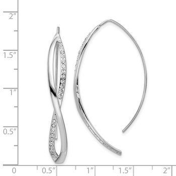 Sterling Silver Rhodium-plated CZ Twisted Threader Earrings