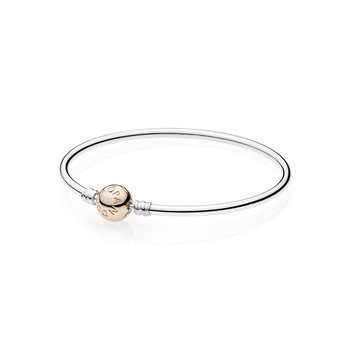Sterling Silver Bangle W/ Pandora Rose™ Clasp