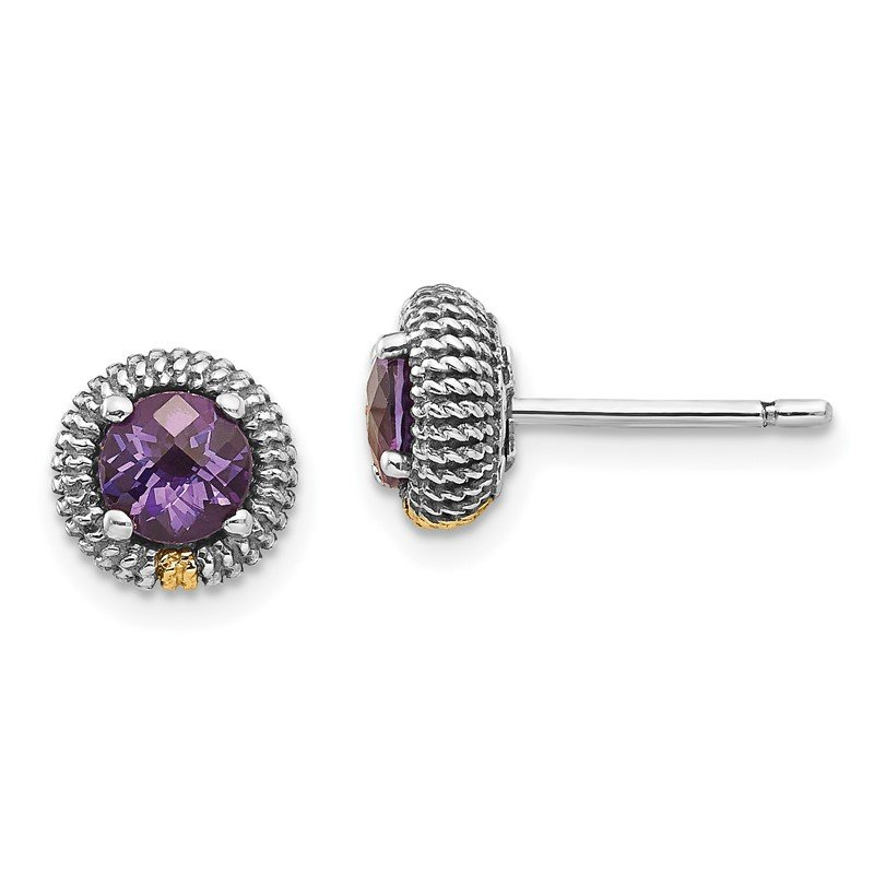 Quality Gold Sterling Silver w/14k Amethyst Post Earrings