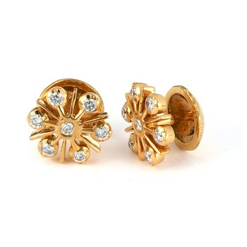 22K YG Dia Ear Studs Close Setting Threaded Backs