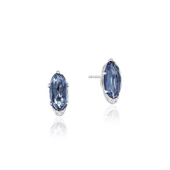 Oval-Shaped Gem Earrings with London Blue Topaz