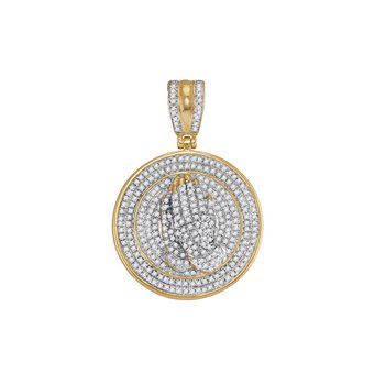 10kt Yellow Gold Mens Round Diamond Praying Prayer Hands Medallion Charm Pendant 7/8 Cttw