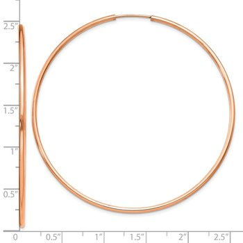 14k Rose Gold 1.5mm Polished Endless Hoop Earrings