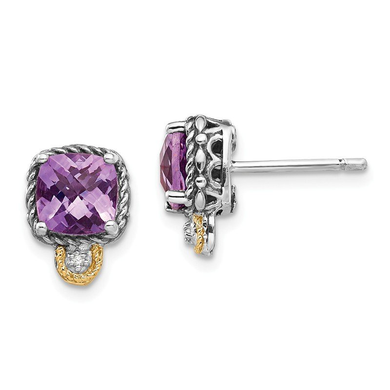 Shey Couture Sterling Silver w/14k Amethyst & Diamond Post Earrings