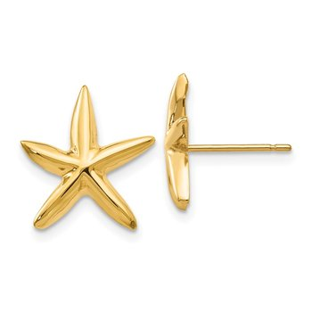 14k Polished Starfish Post Earrings