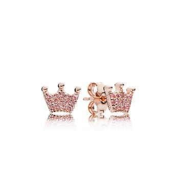 Pink Enchanted Crowns Stud Earrings, Pandora Rose™ Pink Crystals