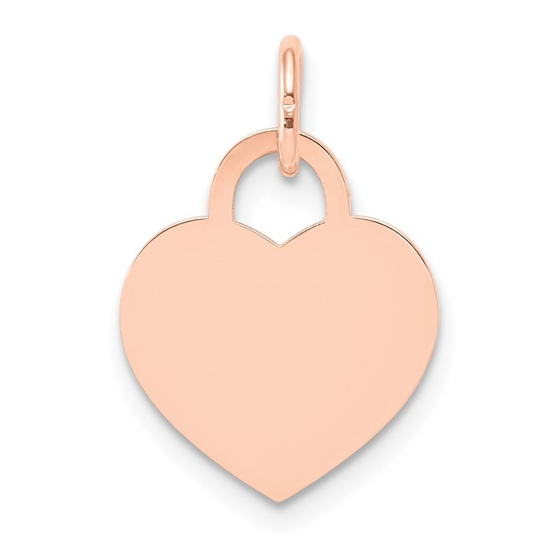 Quality Gold 14k Rose Gold Medium Engraveable Heart Charm