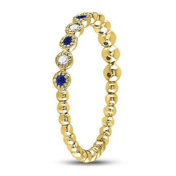 10kt Yellow Gold Womens Round Blue Sapphire Diamond Beaded Dot Stackable Band Ring 1/6 Cttw