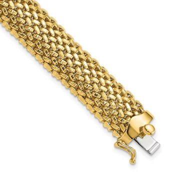 14k 7.25in 12.5mm Polished Mesh Bracelet
