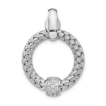 Leslie's Sterling Silver CZ Polished Woven Pendant