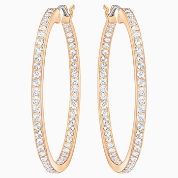 Sommerset Hoop Pierced Earrings, White, Rose-gold tone plated