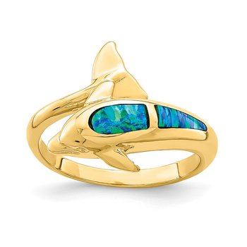 14K Lab Created Opal Dolphin Ring