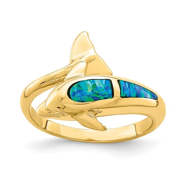 Quality Gold 14K Lab Created Opal Dolphin Ring