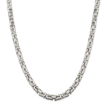 Sterling Silver 7.5mm Byzantine Chain